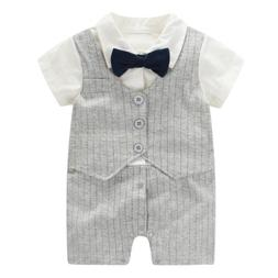 Fairy Baby Baby Boy Formal Outfit Short Sleeve Tuxedo Plaid