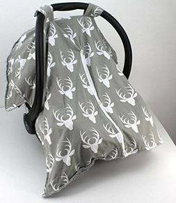 Baby Car Seat Cover Blanket Canopy Gray Deer Rustic Boy Gift