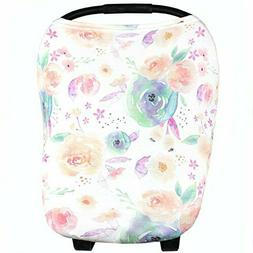 "Baby Car Seat Cover Canopy and Nursing Cover ""June"" 5 in 1 b"