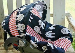 Baby infant car seat cover and hood cover blue elephants wit