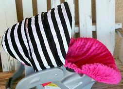 baby Infant Car Seat Cover & Hood Cover black and white stri