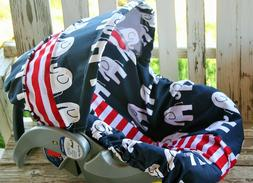 baby infant car seat cover and hood cover blue elephants w/