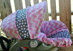 baby infant car seat cover and hood cover baby pink chevron