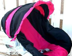 baby infant car seat Cover and hood cover Black and hot pink