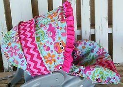 Car seat hood cover Owls with pink chevron and pink ruffle b