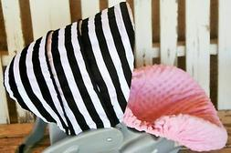 Infant Car Seat Cover & Hood Cover black and white stripes a