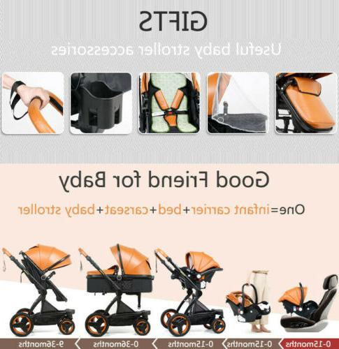3 in 1 Foldable High View Infant Pushchair W/Car
