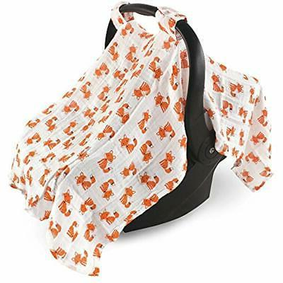 muslin cotton car seat canopy foxes