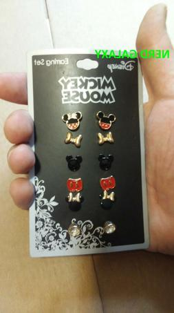 Disney Mickey Mouse And Minnie Mouse Six Pair Earrings Set!