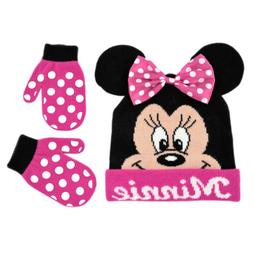 Disney Minnie Mouse Bowtique Polka Dot Hat and Mitten Set, T