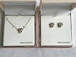 DISNEY Minnie Mouse Sterling Silver .925 Necklace Earrings S