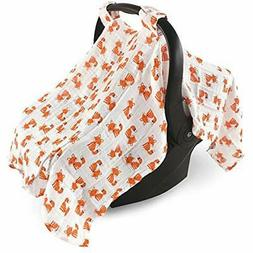 Hudson Baby Muslin Cotton Car Seat Canopy, Foxes