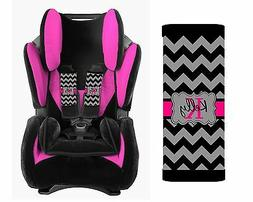 PERSONALIZED BABY TODDLER CAR SEAT STRAP COVERS BLACK AND GR