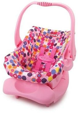 Doll Car Seat Pink Dot Accessories Pretend Play Fits 12 in.